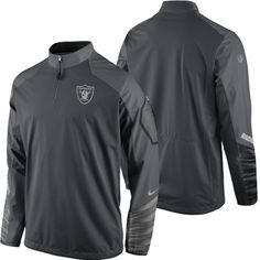 Oakland Raiders Nike Platinum Fly Rush 2.0 Pullover Performance Jacket – Charcoal