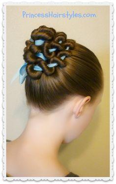Ribbon coiled bun hairstyle tutorial - All For Little Girl Hair Ballet Hairstyles, Fishtail Braid Hairstyles, Princess Hairstyles, Little Girl Hairstyles, Braided Updo, Braided Hairstyles, Wedding Hairstyles, Updo Hairstyle, Female Hairstyles