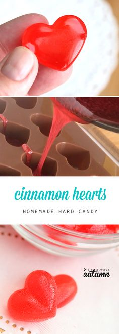 how to make cinnamon hard candy. Easy recipe for hot cinnamon hearts for Valentine's Day or anytime.