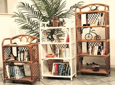 Three-shelf rattan and wicker bookshelf $185