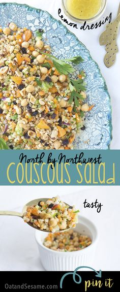 North by Northwest Couscous Salad was inspired by a trip to Seattle. Chickpeas, hazelnuts, fruit and lemon dressing mix to create a light and fresh dish. #plantbased #vegetarian #vegan | recipe at OatandSesame.com