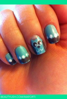 A different take on the popular owl manicure