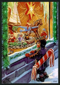 """""""God Jul """" postcard,by Curt Nyström A child looking at a christmas store window display. Illustration Noel, Christmas Illustration, Illustrations, Vintage Christmas Cards, Vintage Cards, Vintage Postcards, Vintage Images, Norwegian Christmas, Scandinavian Christmas"""