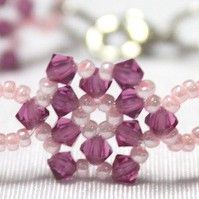 Flower Motif Bracelet: Will do in bright coral seeds, and Swarovski light turquoise crystals