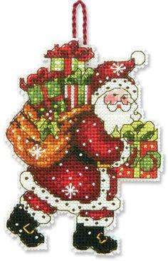Papa Noel con regalos a punto de cruz