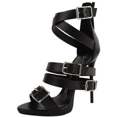 Giuseppe Zanotti Strappy Sandal ($500) ❤ liked on Polyvore featuring shoes, sandals, heels, high heels, giuseppe zanotti, nero, heeled sandals, strap shoes, strap high heel sandals and strap heels shoes