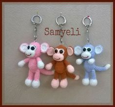 Maymun Anahtarlık Tarifi / Monkey Keychain Free Pattern Monkey keychain TERMS: sh: magic ring *: repeat number x: frequent needle ss: thread scroll v: increase A: decrease … Crochet Animal Patterns, Stuffed Animal Patterns, Crochet Patterns Amigurumi, Crochet Dolls, Crochet Crafts, Crochet Projects, Free Crochet, Crochet Keychain Pattern, Hello Kitty Jewelry