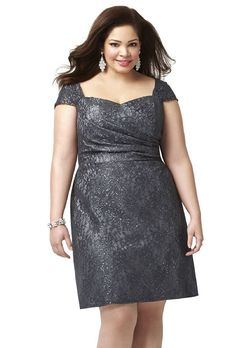 Brides.com: . Style 9003, rococo lace bridesmaid dress in charcoal gray, $316, Dessy available at Weddington Way  See more Dessy bridesmaid dresses.