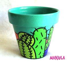 Macetas Cactus Painted Clay Pots, Painted Flower Pots, Garden Deco, Garden Pots, Pottery Pots, Clay Flower Pots, Cactus Painting, Cactus Pot, Clay Pot Crafts
