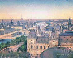 Paris - Les ponts    | Digital Oil Painting of Paris Bridges by Charles W. Bailey, Jr.