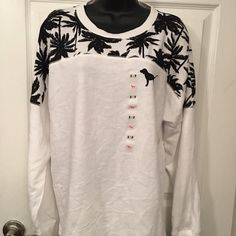 VS Pink White Palm Tree Varsity Crew Nwt - does have a small spot see pics. It nag come out.  PINK Victoria's Secret Sweaters Crew & Scoop Necks