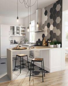 Les plus belles inspirations de carrelage hexagonal pour la cuisine. Habillez le sol et le mur avec des carreaux de forme originale et jouez le mix and match pour le sol avec carrelage et parquet.