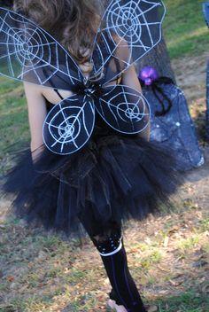 Spider Fairy Costume - SEWN tutu set - tutu, spider web tube top , black feather flower headband, & fairy wings GIRLS Tween. $45.00, via Etsy.