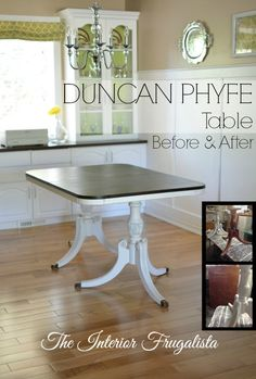 I gave a thrift store Duncan Phyfe Dining Table a new life with chalk paint and dark walnut stain. Mahogany Dining Table, Antique Dining Tables, Repurposed Furniture, Painted Furniture, Vintage Furniture, Refinished Furniture, Dining Room Furniture, Dining Room Table, Console Table