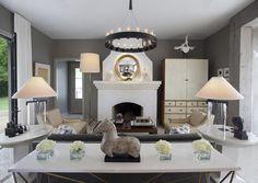 Living Room Designed by Ty Larkins featuring Visual Comfort's Brooks Table Lamp and Studio Adjustable Floor Lamp