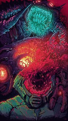 A little something fun to honor the classic computer game DOOM. After hearing about the forthcoming DOOM 4 and my recent space monster illustration binge, I figured I& top it all off with another super colorful explosion of carnage. Sorry, Doomguy. Monster Illustration, Illustration Art, Illustrations, Hyper Beast Wallpaper, Doom Game, Doom 4, Acid Art, Arte Obscura, Psychedelic Art