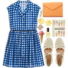 Icecream for Breakfast by vogue-breakfast on Polyvore featuring Miu Miu, YMC, RIEN by Penny Vomva, Linda Farrow Luxe, Alöe, Lanvin, cute, outfit and Checked