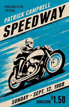 Custom Retro Style Motorcycle Racing Poster door MeltonGraphics