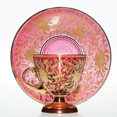 Moser footed cup with saucer in cranberry decorated with lots of gold. Glass Tea Cups, China Tea Cups, Coffee Cups And Saucers, Tea Cup Saucer, Turkish Coffee Cups, Cranberry Glass, Vaseline Glass, Tea Cozy, Fine China