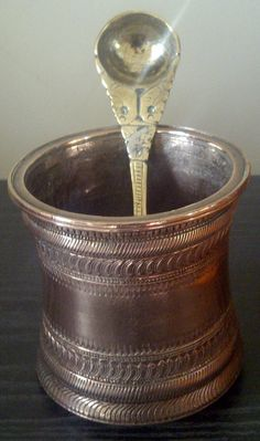 "My paternal Grandfather's copper Pooja vessel, along with a ""panchaloha"" spoon - spoon made of 5 metals"