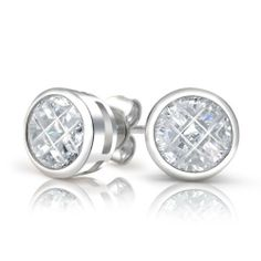 Bling Jewelry Sterling Silver Invisible Cut CZ Stud Earrings 8mm Bling Jewelry. $19.99. Weighs: 3GR. 0.38 inches in diameter. Cubic Zirconia. .925 Sterling Silver. Save 52%!