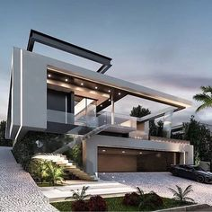 An extraordinary architecture design. What do you think? _ Project by Located in São Paulo, Brazil . Dream Home Design, Modern House Design, Modern Exterior, Exterior Design, Facade Design, Modern Architecture House, Architecture Design, Modern House Facades, Sustainable Architecture