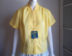 Vintage 50s Deadstock Ribbed Sheer Dacron Button Front Blouse by funquejunque, $25.00