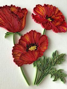 poppies quilling (this one not for beginners - will try it another time mt) - Crafting DIY Center Neli Quilling, Paper Quilling Flowers, Paper Quilling Cards, Paper Quilling Patterns, Quilled Paper Art, Quilling Paper Craft, Paper Crafts, Foam Crafts, Paper Toys