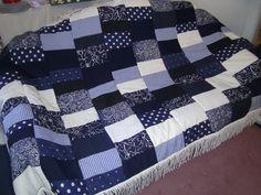 blau-weiße decke,patchwork,handmade