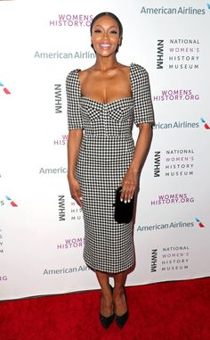 Houndstooth Hot from What the Fashion Actress Yaya DaCosta wows in a fitted houndstooth dress at the Women Making History Awards in Los Angeles. Yaya Dacosta, Houndstooth Dress, Women In History, Red Carpet Looks, Celebs, Celebrities, Peplum Dress, Celebrity Style, Awards