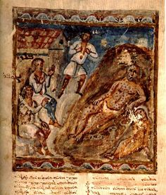 Folio 46r of the Syriac Bible of Paris (c. 585) depicting Job.