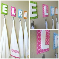 cute idea for kids bathroom....or  have a canvas with their name...hung on the wall by a ribbon.