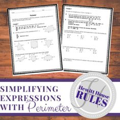 Simplifying Expressions with Perimeter Worksheet Simplifying Expressions, Algebraic Expressions, Algebra Activities, Maths Algebra, Perimeter Worksheets, High School Algebra, Combining Like Terms, Secondary Math