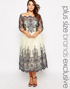 CHI CHI PLUS Chi Chi London Plus Metallic Lace 3/4 Sleeve Midi Prom Dress