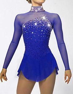 Figure+Skating+Dress+Women's+Girls'+Ice+Skating+Dress+Dark+Blue+Aquamarine+Spandex+Rhinestone+Sequined+High+Elasticity+Performance+–+CAD+$+204.14