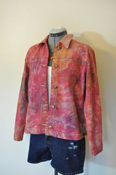Pink Small Denim Jacket Orange Cherry Red Hand Dyed Upcycled