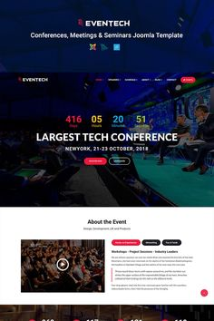 Check out Eventech - Conference & Event Joomla Template. It has lots of powerful features such as: Drag & Drop Page Builder, Layout Builder, Tabs GK5, Jux timeline and so on. #joomladesign #conferencelandingpage #eventwebsitedesign https://www.templatemonster.com/joomla-templates/eventech-conference-event-joomla-template-joomla-template-68635.html/
