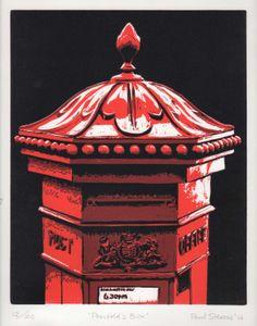 Paul Stevens: 'Penfold's Box' - Original Reduction Linocut, 25cm x 20cm, Edition of 20
