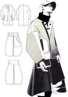 19. En lugar de muestra, collage (o edición photoshop) de la ilustración o sketch con el tejido
