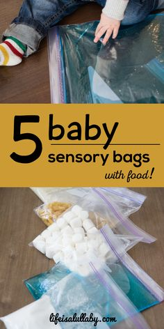 5 baby sensory bags with food ideas. Easy to do and you should have most supplie… 5 baby sensory bags with food ideas. Easy to do and you should have most supplies on hand already! Baby Sensory Bags, Baby Sensory Play, Baby Play, Diy Sensory Toys For Babies, Infant Sensory, Sensory Wall, Sensory Boards, Sensory Bins, Baby Massage