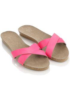 Deepi Cross Strap Sandals   Pink   Accessorize
