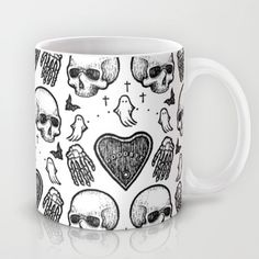 Ghostly Dreams II mug: $15 This design is also available as a pillow, print, phone case, and much more on my Society 6 webstore, please check it out! #fashion #tote #bag #purse #accessories #pillow #design #interiordesign #decoration #decorating #bedroom #interior #inspiration #home #bed #bedding #duvet #bedspread #skull #skulls #ghost #creepy #edgy #grunge #white #illustration #society6 #print #mug #coffee #tea #cup