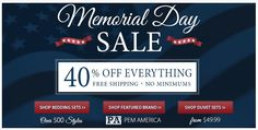 HUGE Memorial Day Sale going on now at www.bedding.com