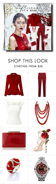 """The softness of a rose..."" by nannerl27forever ❤ liked on Polyvore featuring Poesia, Hybrid & Company, Étoile Isabel Marant, Roland Mouret, Chan Luu, Dolce&Gabbana, Rolex, polyvoreeditorial, polyvorestyle and topset"