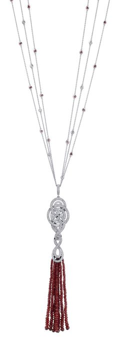Garrard necklace from the Entanglement collection with diamonds, ruby tassel, set in gold.