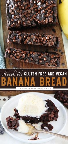 Chocolate Vegan Banana Bread is so rich, moist, and delicious! This Mother's day brunch food idea is a gluten-free and vegan version of the chocolate banana bread. You will never know the difference! Pin this yummy food for breakfast! Vegan Banana Bread, Chocolate Banana Bread, Gluten Free Banana Bread, Brunch Recipes, Brunch Food, Bread Recipes, Breakfast Recipes, Dessert Recipes, Cooking Recipes