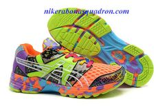Womens Asics Gel Noosa TRI 8 Racing Running Shoes Orange Lime Green Blue Purple Confetti