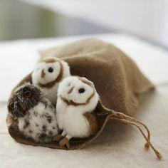 Burlap Drawstring Bags with owls Pinned by www.myowlbarn.com