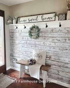 Gorgeous DIY Farmhouse Furniture and Decor Ideas For A Rustic Country Home – DIY & Crafts - Dekoration Ideen Farmhouse Wall Decor, Farmhouse Ideas, Farmhouse Front, Farmhouse Style House Decor, Farmhouse Interior, Rustic Wall Decor, Farmhouse Style Decorating, Farmhouse Design, Rustic Decorating Ideas