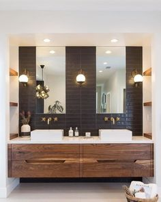 Purposeful Design + Thoughtful Living: Explore inspiring spaces from our community and share your own with Bathroom Windows, Wood Bathroom, Bathroom Renos, Bathroom Wallpaper, Bathroom Faucets, Bathroom Ideas, Mid Century Modern Bathroom, Modern Master Bathroom, Minimalist Bathroom
